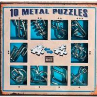 Набор из 10 металлических головоломок синий