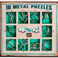 Набор из 10 металлических головоломок зеленый